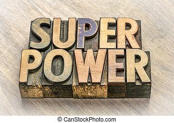 type, résumé, bois, mot, superpuissance