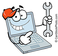 type, tenue, ordinateur portable, clé