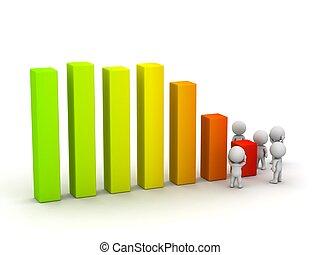 types, diagramme, souci, profit, perte, 3d