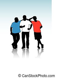 types, silhouettes, groupe, jeune