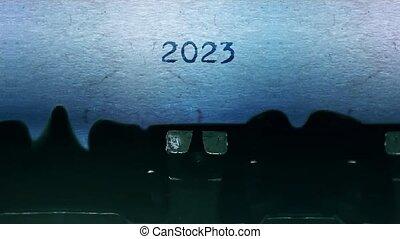 typewriter., année, feuille, 2023, vieux, mots, papier, vendange, dactylographie, nouveau