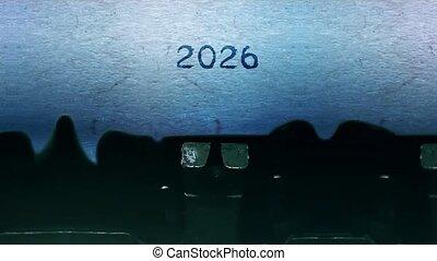 typewriter., année, feuille, vieux, mots, papier, vendange, dactylographie, nouveau, 2026