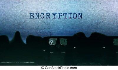 typewriter., feuille, chiffrement, vieux, mots, papier, vendange, dactylographie
