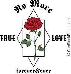 typography., toujours, ever., amour, illustration., non, rose, résumé, main, t-shirt, habillement, gothique, vecteur, conception, branché, dessiné, vrai, template., slogan, plus