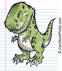 tyrannosaurus, croquis, dinosaure