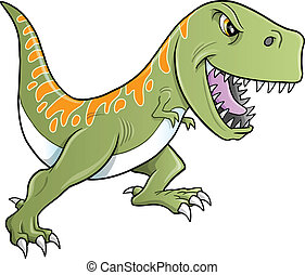 tyrannosaurus, dinosaure, dur, vecteur