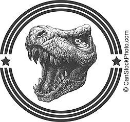 tyrannosaurus, main, dinosaure, vecteur, eps8, drawn.