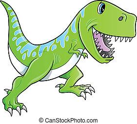 tyrannosaurus, mignon, vecteur, dinosaure