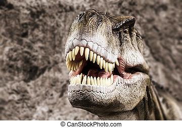tyrannosaurus, projection, sien, bouche, toothy