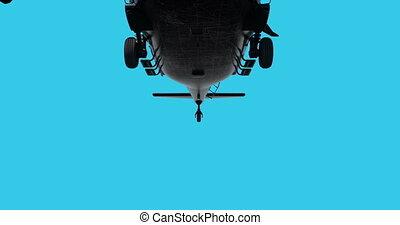 uh-60, réaliste, animation, noir, hélicoptère, militaire, faucon, 3d