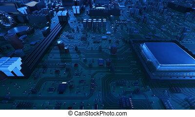 uhd, fait boucle, processeurs, carte mère, sur, voler, flares., cpus, animation, planche, circuit, numérique, 3d, technologie, concept., 4k