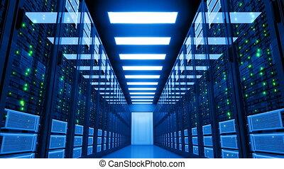 uhd, room., serveur, datacenter., problème, storage., puissance, 3840x2160., 4k, échec, électricité, centre, moderne, données, black-out