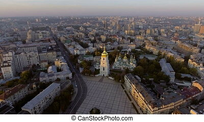 ukraine, aérien, orthodoxe, kyiv., cathédrale, sophia
