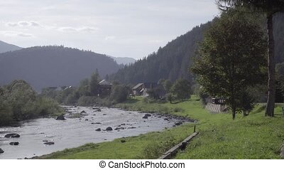 ukraine., carpathian, prut, montagnes., rivière