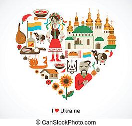 ukraine, coeur, éléments, amour, icônes, -