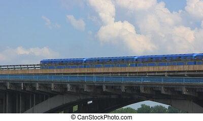 ukraine, pont, dnieper, croix, métro, kiev, train, rivière, travers
