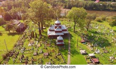 ukraine, vieux, yaremche, église, cimetière
