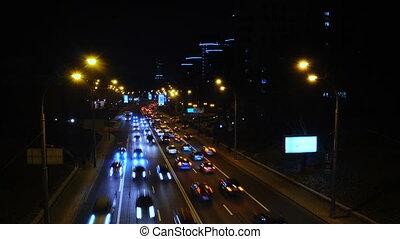 ukraine, ville, heure pointe, défaillance, cityscape., scène nuit, kyiv, temps, avenue, trafic