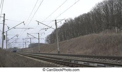 ukrainien, train, field., 4k, en mouvement, ferroviaire