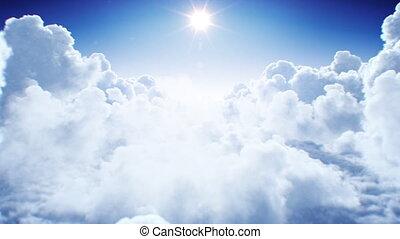 ultra, lumière du jour, seamless., clair, voler, cumulus, animation., naturel, briller, plus, nuages, fait boucle, après-midi, 4k, 3840x2160, interminable, par, soleil, sous, 3d, hd