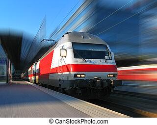 ultra-rapide, mouvement, train