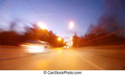 ultra-rapide, voitures, soir, autoroute, aller