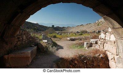 une, ancien, entrées, gladiators, 4k., zoom, aphrodisias, deux, stade, athlétisme, turkey., ruines