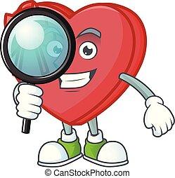 une, cadeau, détective, style, amour, caractère, oeil, boîte, dessin animé