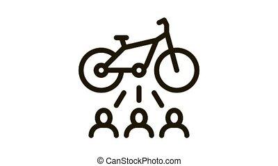 une, demandeurs, icône, animation, vélo