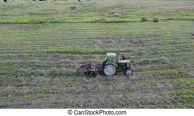 une, foin, collects, tedder, tracteur, ligne