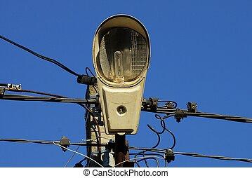 une, gris, ampoule, poteau, béton, métal, lanterne, verre