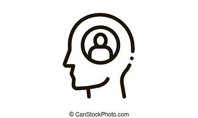 une, icône, pensée, personne, animation