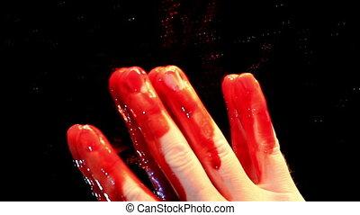 une, main, sanglant