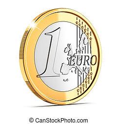 une, monnaie, isolé, cent, euro