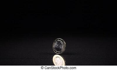 une, rotation, arrière-plan noir, monnaie, euro