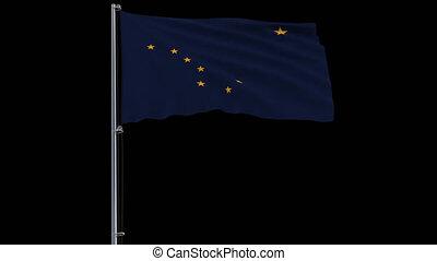 uni, alaska, isoler, prores, etats, drapeau, 4444, 4k, transparence, alpha, métrage