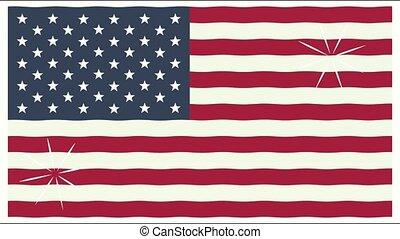 uni, amérique, drapeau, etats, animation