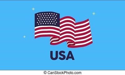 uni, amérique, drapeau, etats, animation, onduler