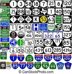 uni, bouclier, format, states., vecteur, signes, markers., route