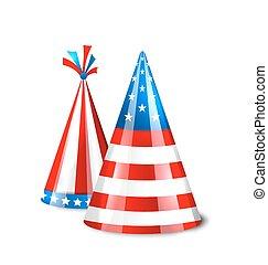 uni, chapeaux, etats, drapeau, fête, amérique