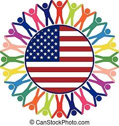uni, coloré, gens, etats, vecteur, icône, amérique