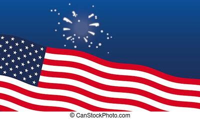 uni, feux artifice, amérique, drapeau, etats