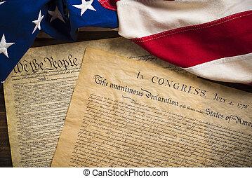 uni, founding, vendange, états américains, drapeau, documents