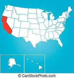 uni, -, illustration, etats, état, californie, amérique