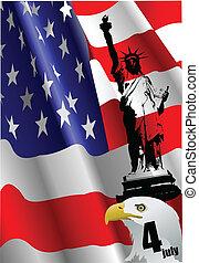 uni, indépendance, 4ème, jour, juillet, %u2013
