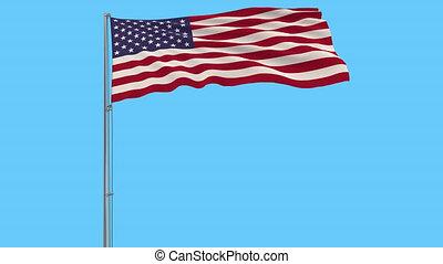 uni, isoler, prores, etats, drapeau, métrage, mât, transparence, alpha, amérique, 4k