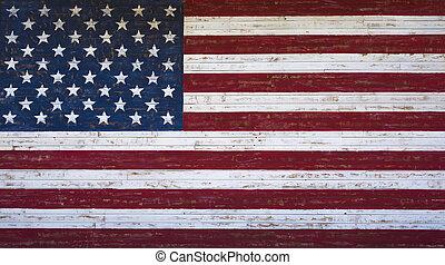 uni, peint, américain, ou, etats, bois, drapeau, planche, mur