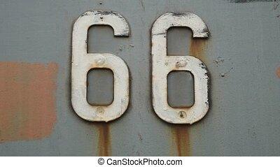 uni, vieux, 66, symbole, texture, signe, etats, fer, fond, amérique, route