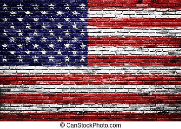 uni, vieux, peint, etats, mur, drapeau, brique, amérique