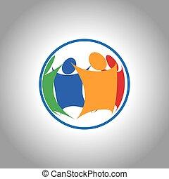 unifié, groupe ensemble, gens